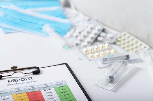 Raport o liczbie pacjentów na stole lekarzy. rękawiczki medyczne, leki i strzykawki.