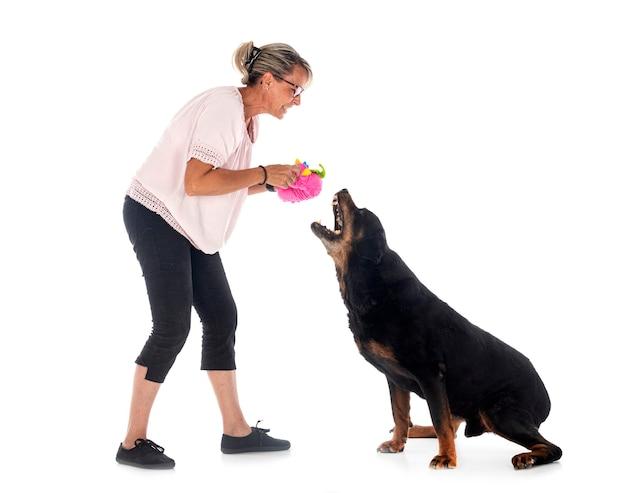 Rasowy rottweiler i kobieta przed białą ścianą