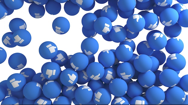 Reakcje facebooka, takie jak renderowanie 3d