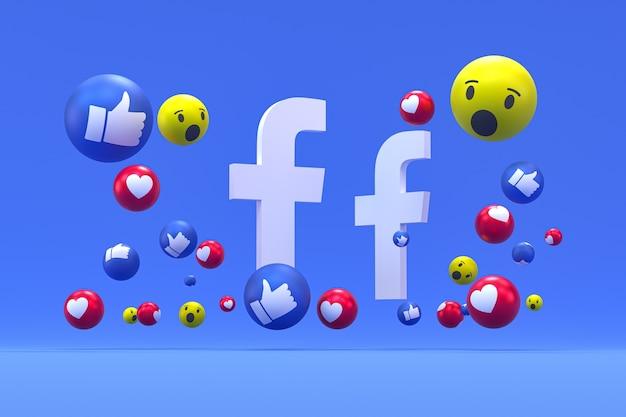 Reakcje ikony facebooka na niebieskim tle