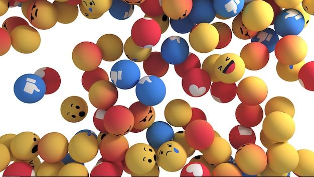 Reakcje na facebooku emoji 3d render