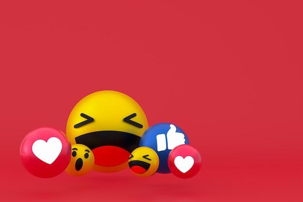 Reakcje na facebooku emoji renderowania 3d, symbol balonu w mediach społecznościowych na czerwonym tle