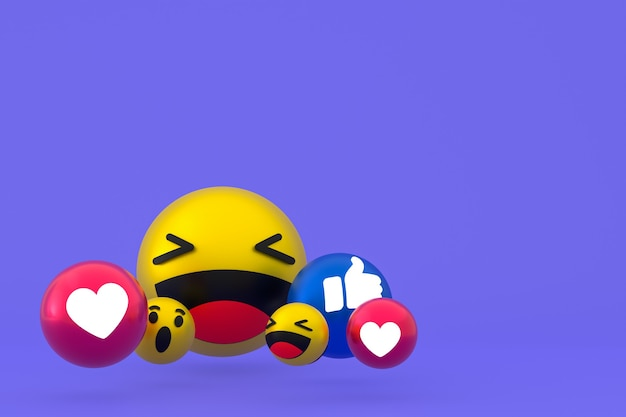 Reakcje na facebooku emoji renderowania 3d, symbol balonu w mediach społecznościowych na fioletowym tle