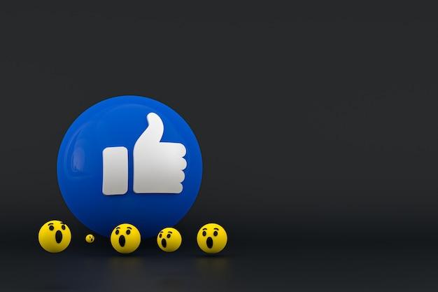 Reakcje na facebooku emoji renderowania 3d, symbol balonu w mediach społecznościowych z wzorem ikon na facebooku