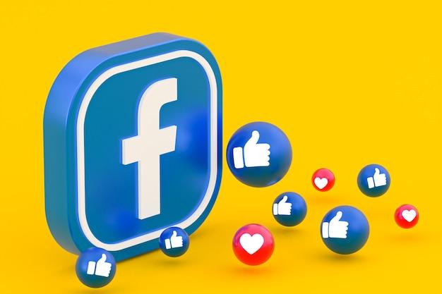 Reakcje na facebooku emoji renderowania 3d, symbol mediów społecznościowych
