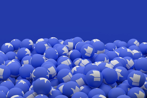 Reakcje na facebooku emoji renderowania 3d