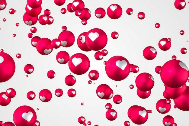Reakcje na facebooku emoji serca renderowania 3d zdjęcie premium, symbol balonu społecznościowego z sercem, karta happy valentines day