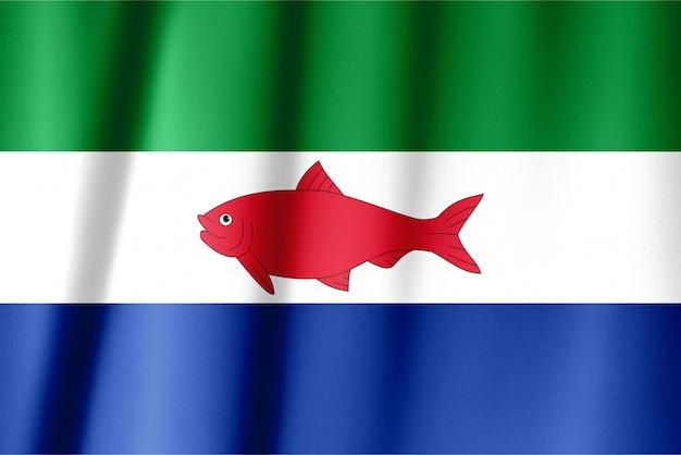 Realistyczna flaga federalnych zależności wenezueli na falistej powierzchni tkaniny