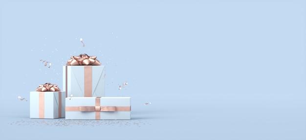 Realistyczna kompozycja pudełek na prezenty z pustą przestrzenią