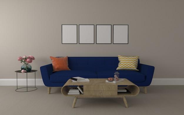 Realistyczna makieta 3d renderowanego wnętrza nowoczesnego salonu z sofą - kanapa i stół