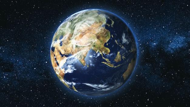 Realistyczna planeta ziemia na tle gwiazdowego nieba