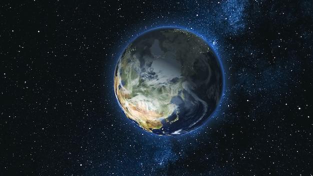 Realistyczna planeta ziemia, obracająca się wokół własnej osi w przestrzeni na tle gwiezdnego nieba drogi mlecznej. koncepcja astronomii i nauki. kontynenty i oceany. elementy obrazu dostarczone przez nasa