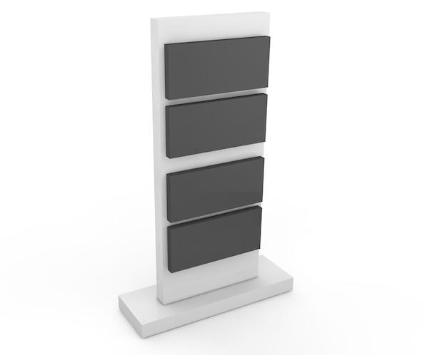Realistyczna reklama zewnętrzna typu lightbox 3d. 3d render ilustracja na białym tle