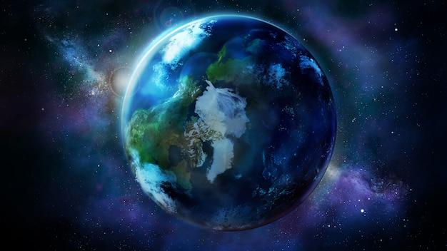 Realistyczna ziemia z kosmosu pokazująca amerykę północną, azję i europę