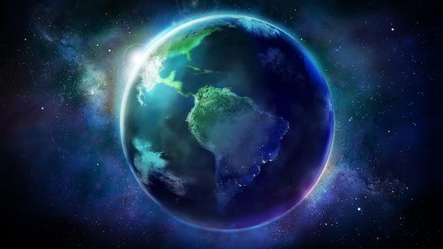 Realistyczna ziemia z kosmosu pokazująca amerykę północną i południową