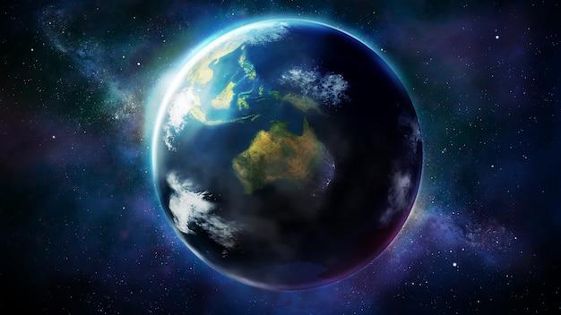 Realistyczna ziemia z kosmosu pokazująca azję, australię i oceanię