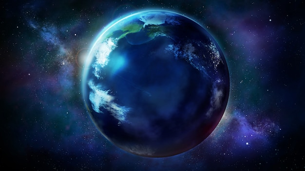 Realistyczna ziemia z kosmosu pokazująca azję i amerykę północną