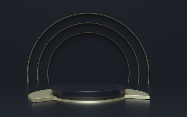 Realistyczne czarne i złote tło wyświetlacza produktu podium