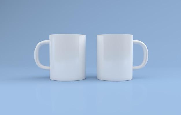 Realistyczne dwa białe kubki mockup 3d renderowane