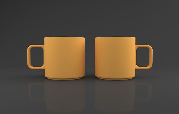 Realistyczne dwa żółte kubki mockup 3d renderowane