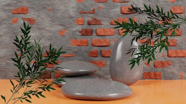 Realistyczne kamienne podium z ceglaną ścianą i drzewem