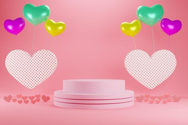 Realistyczne kolorowe romantyczne serca walentynkowe w kolorze czerwonym lub różowym