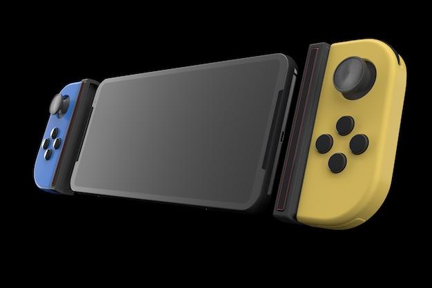 Realistyczne kontrolery gier wideo podłączone do telefonu komórkowego izolowane na czarno