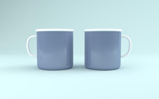 Realistyczne makiety dwóch kubków renderowane w 3d