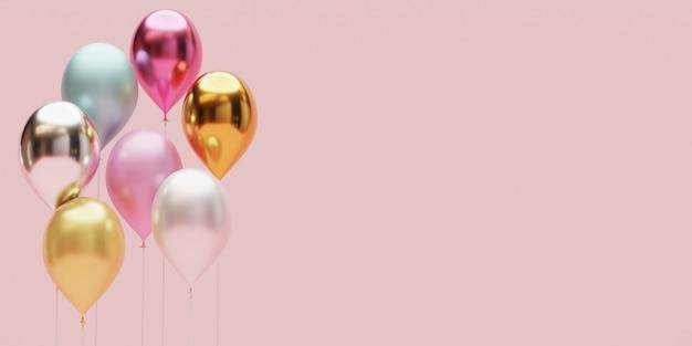 Realistyczne metaliczne balony w pastelowych kolorach z miejscem na kopię do dekoracji rocznicy i przyjęcia wesołych świąt, szczęśliwego nowego roku, walentynek i urodzin techniką renderowania 3d.