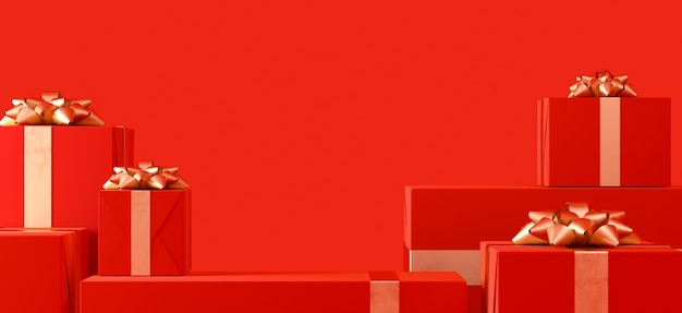 Realistyczne pudełka na prezenty na czerwonym tle z pustą przestrzenią