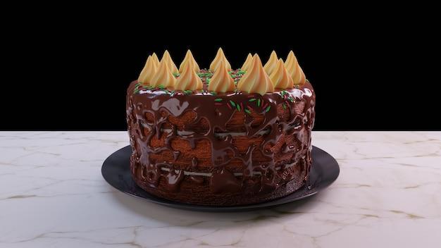 Realistyczne renderowanie 3d ciasto na białym tle z czekoladą
