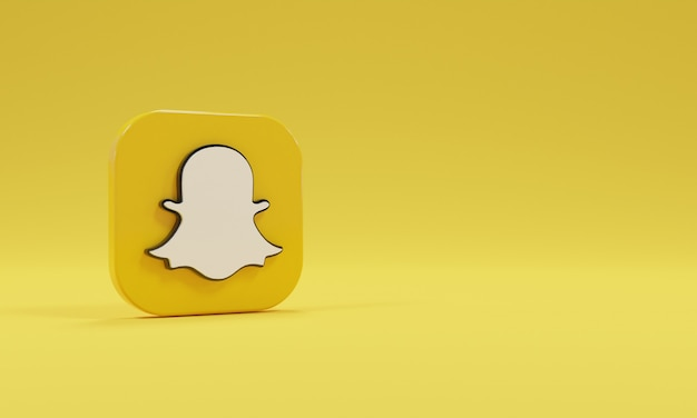 Realistyczne renderowanie 3d ikona logo snapchat