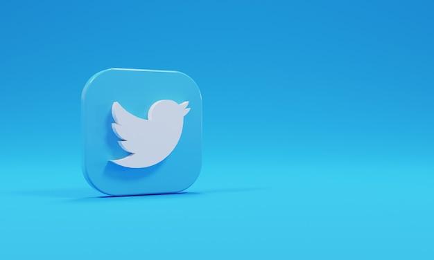 Realistyczne renderowanie 3d ikona logo twitter