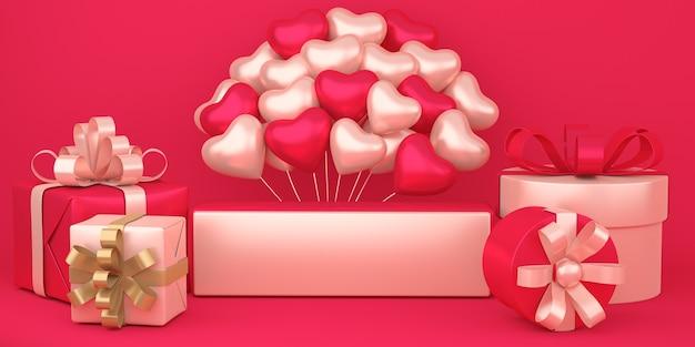 Realistyczne szczęśliwe walentynki tło z pudełkami na prezenty i dekoracjami balonów w kształcie serca