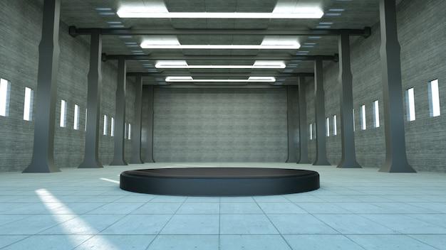 Realistyczne wyświetlanie podium w pustym hangarze