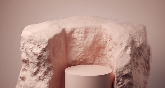 Realistyczne zaokrąglone podium wewnątrz kamienia