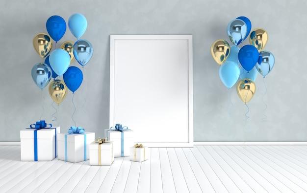 Realistyczne złote i niebieskie balony plakat pudełko