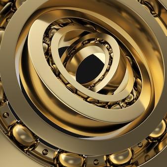 Realistyczne złote wirujące łożysko w łożysku czarne