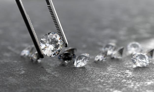 Realistyczny diament w pincecie miękkiego ogniskowania