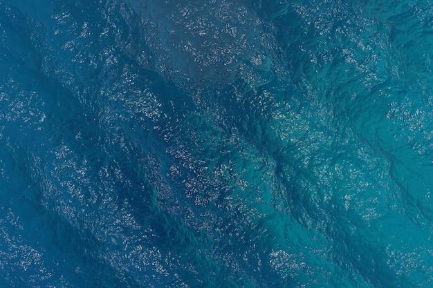 Realistyczny głęboki błękit oceanu morskiego widok z góry fala wodna cisza i spokój spokojna i piękna zatoka lato tekstura tło. renderowania 3d