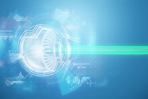 Realistyczny hologram ludzkiego oka i medyczna wiązka laserowa. pojęcie laserowej chirurgii oka, wzroku, zaćmy, ostegmatyzmu, współczesnego okulisty. ilustracja 3d, renderowanie 3d.