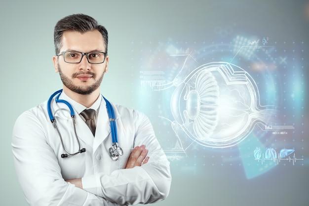 Realistyczny hologram ludzkiego oka, lekarz sprawdza wzrok. koncepcja wizji, laserowa chirurgia oka, katerakt, ostegmatyzm, nowoczesny okulista.