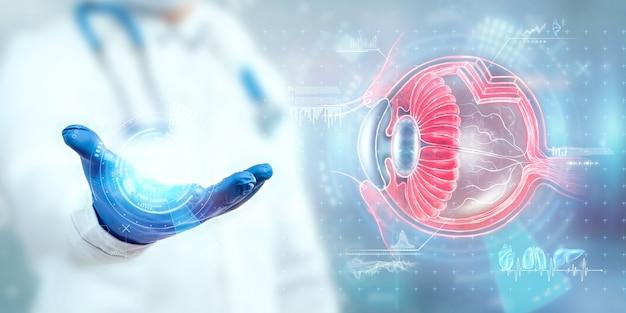 Realistyczny hologram ludzkiego oka, ręka lekarza sprawdzanie wzroku. pojęcie opieki zdrowotnej, wzroku, zaćmy, ostegmatyzmu, laserowej chirurgii oka, nowoczesnego okulisty.