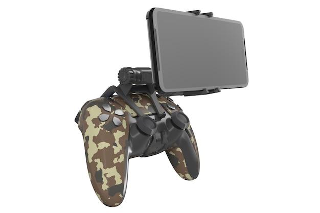 Realistyczny joystick do grania w gry na telefonie komórkowym na białym tle