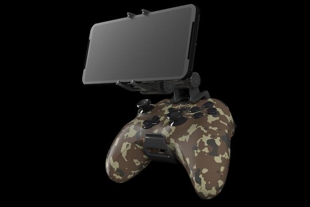 Realistyczny joystick do grania w gry na telefonie komórkowym na czarnym tle