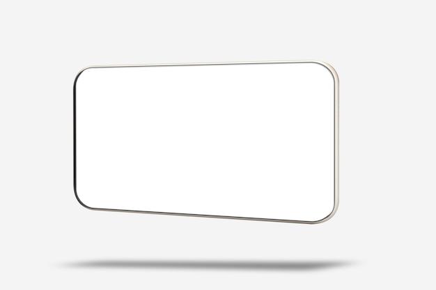 Realistyczny nowoczesny smartfon na białym tle. makiety telefonu z pustym ekranem