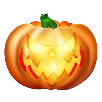 Realistyczny rysunek pomarańczowy dyni halloween na białym tle.