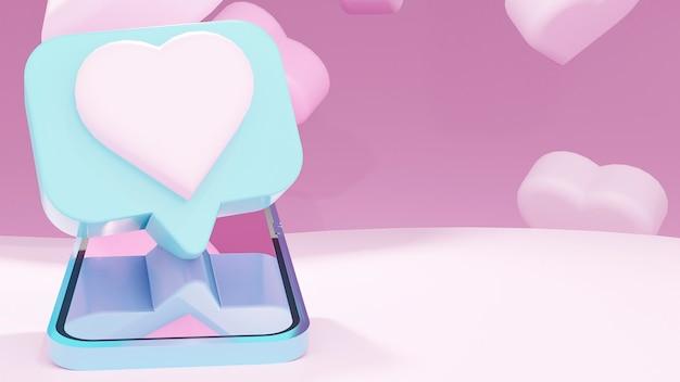 Realistyczny smartfon z koncepcją aplikacji randkowej. koncepcja valentine. ilustracja 3d