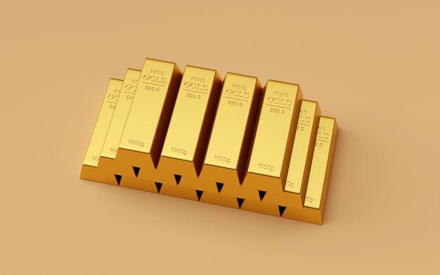 Realistyczny stos sztabki złota, renderowanie 3d