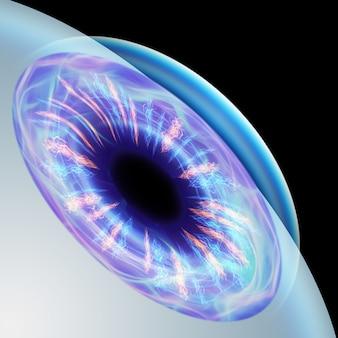 Realistyczny widok zbliżenia źrenicy ludzkiego oka. pojęcie laserowej chirurgii oka, wzroku, zaćmy, ostegmatyzmu, współczesnego okulisty. ilustracja 3d, renderowanie 3d.